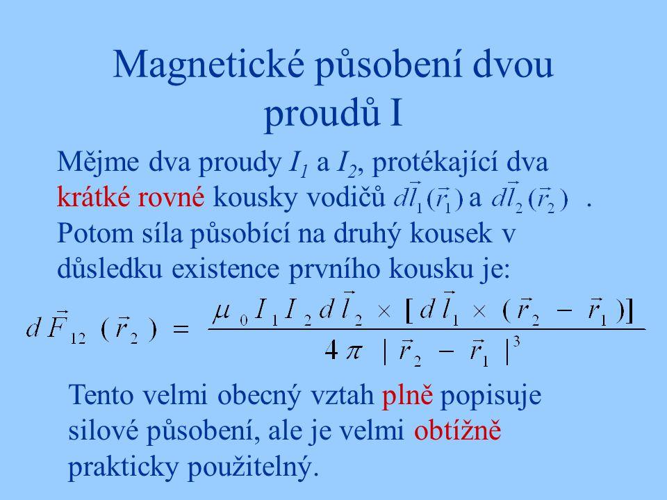 Magnetické působení dvou proudů I Mějme dva proudy I 1 a I 2, protékající dva krátké rovné kousky vodičů a. Potom síla působící na druhý kousek v důsl