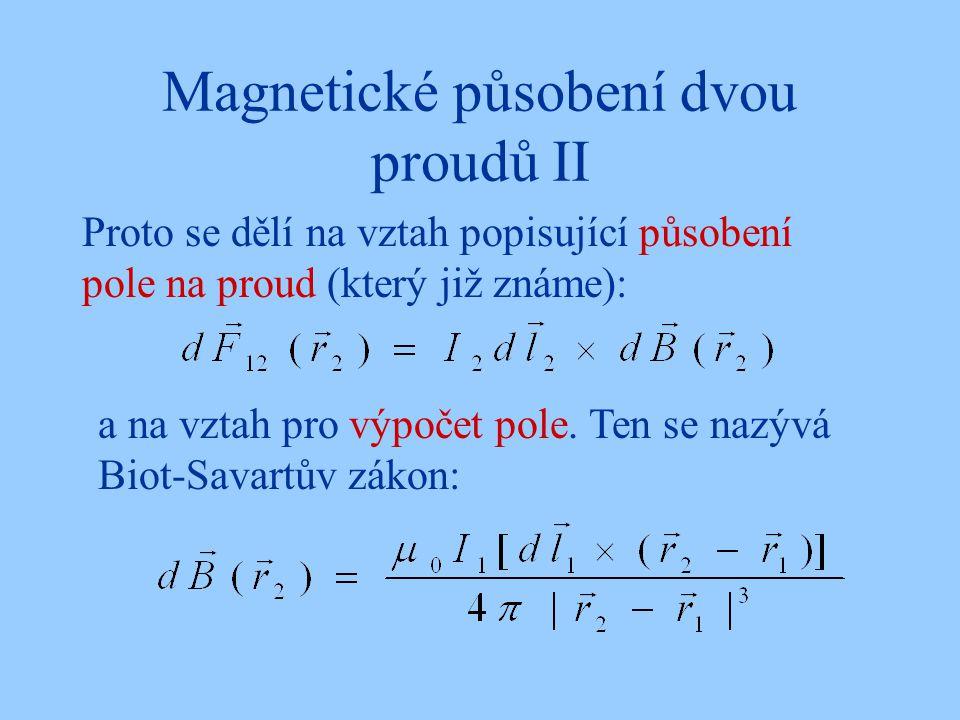 Magnetické působení dvou proudů II Proto se dělí na vztah popisující působení pole na proud (který již známe): a na vztah pro výpočet pole. Ten se naz