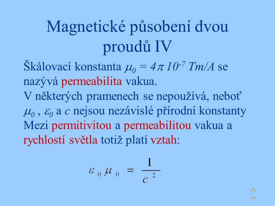 Magnetické působení dvou proudů IV Škálovací konstanta  0 = 4  10 -7 Tm/A se nazývá permeabilita vakua. V některých pramenech se nepoužívá, neboť 