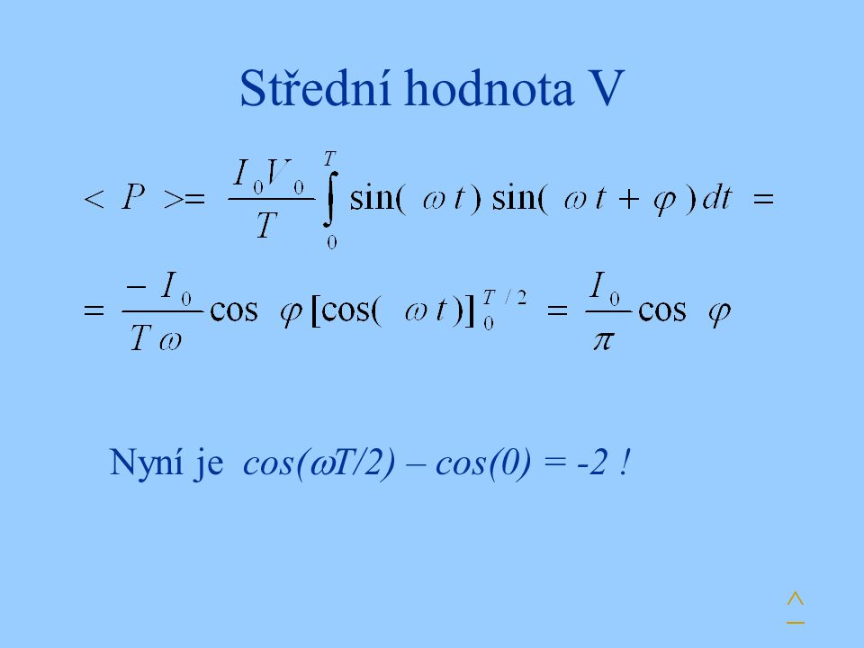 Střední hodnota V ^ Nyní je cos(  T/2) – cos(0) = -2 !