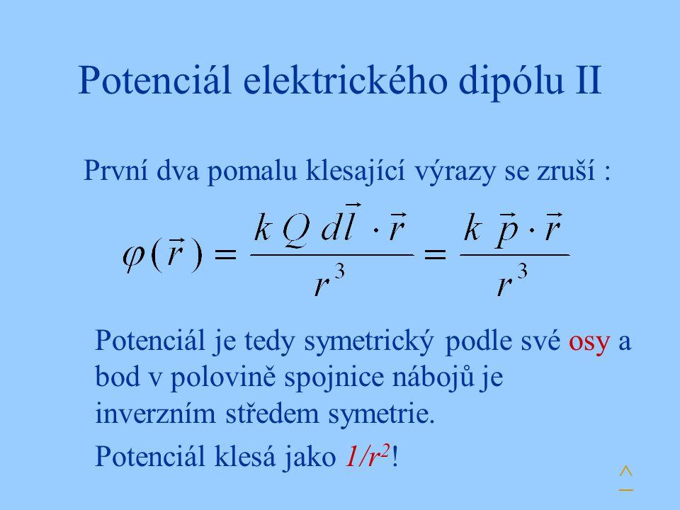 Potenciál elektrického dipólu II První dva pomalu klesající výrazy se zruší : Potenciál je tedy symetrický podle své osy a bod v polovině spojnice náb