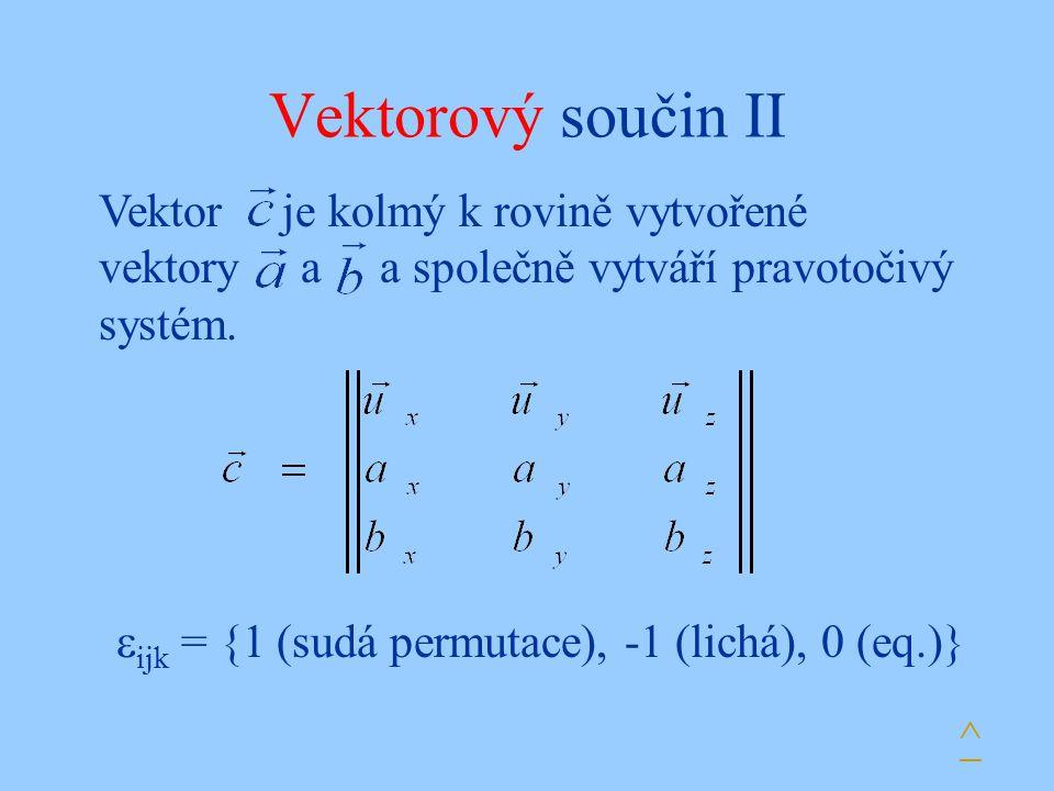 Vektorový součin II Vektor je kolmý k rovině vytvořené vektory a a společně vytváří pravotočivý systém.  ijk = {1 (sudá permutace), -1 (lichá), 0 (eq