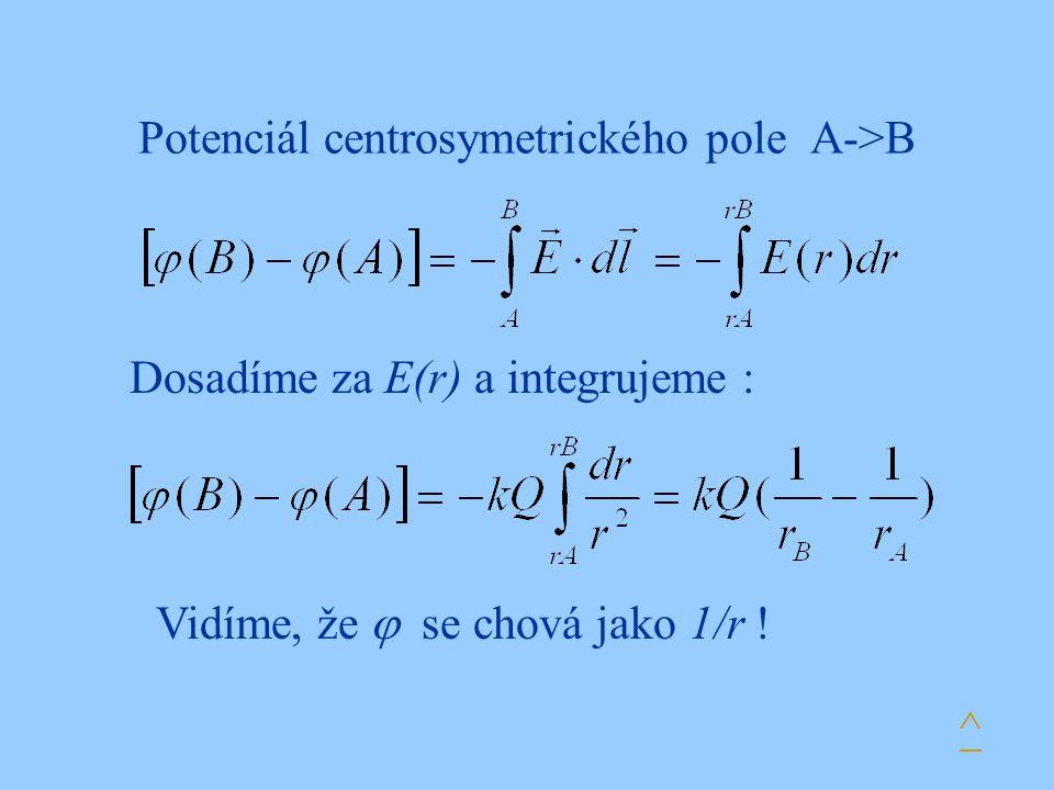 Potenciál centrosymetrického pole A->B Dosadíme za E(r) a integrujeme : Vidíme, že  se chová jako 1/r ! ^