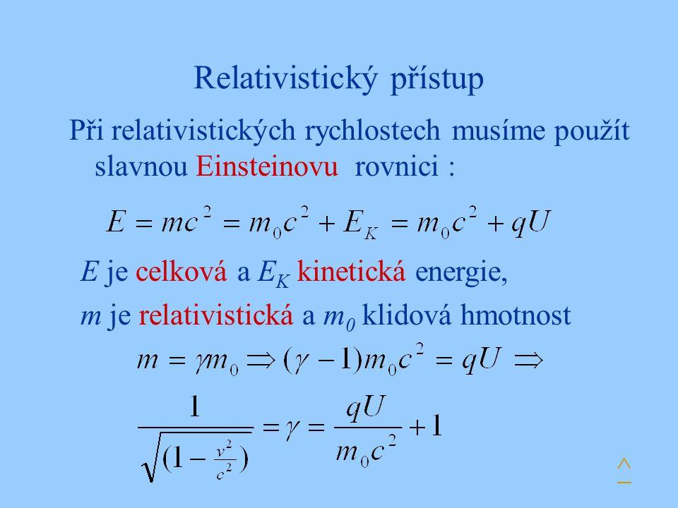 Relativistický přístup Při relativistických rychlostech musíme použít slavnou Einsteinovu rovnici : E je celková a E K kinetická energie, m je relativ