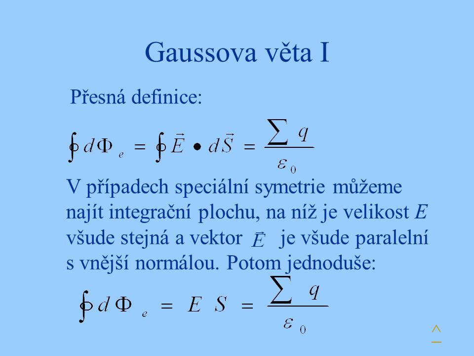 Gaussova věta I Přesná definice: V případech speciální symetrie můžeme najít integrační plochu, na níž je velikost E všude stejná a vektor je všude pa