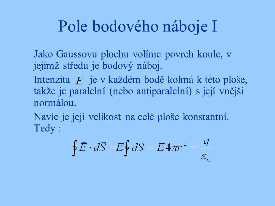 Pole bodového náboje I Jako Gaussovu plochu volíme povrch koule, v jejímž středu je bodový náboj. Intenzita je v každém bodě kolmá k této ploše, takže