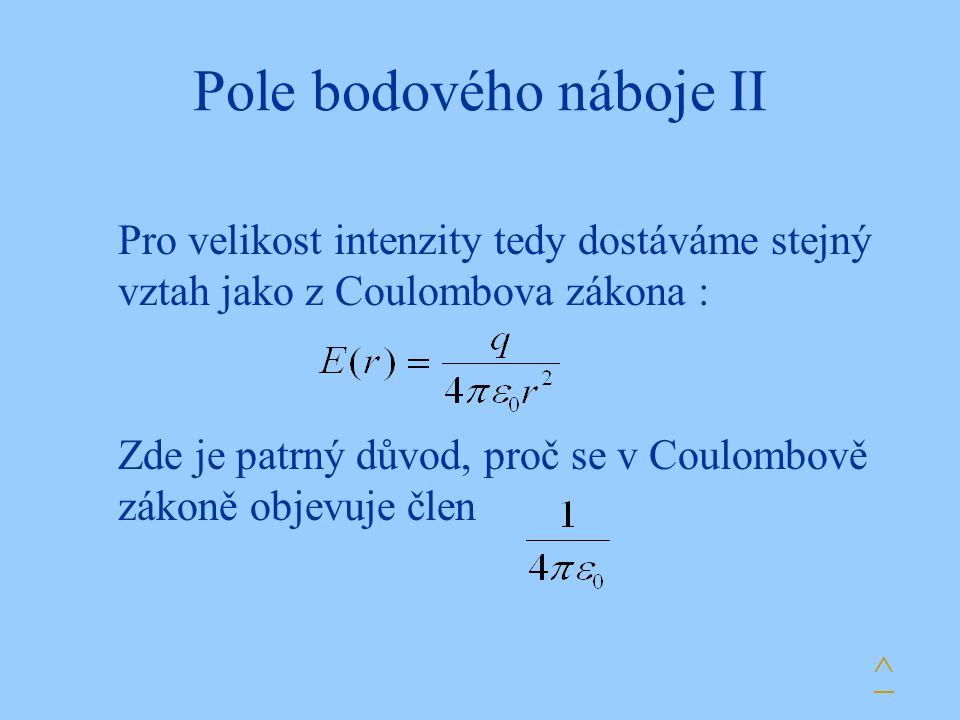 Pole bodového náboje II Pro velikost intenzity tedy dostáváme stejný vztah jako z Coulombova zákona : Zde je patrný důvod, proč se v Coulombově zákoně