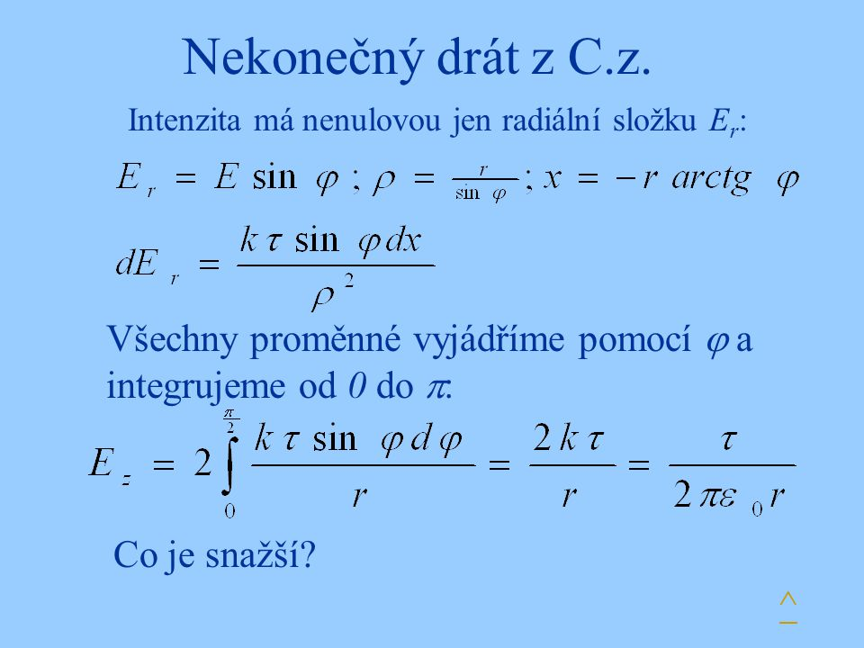 Nekonečný drát z C.z. Intenzita má nenulovou jen radiální složku E r : Všechny proměnné vyjádříme pomocí  a integrujeme od 0 do  : Co je snažší? ^