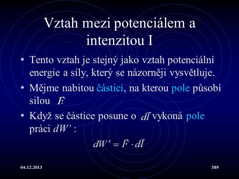 04.12.2013389 Vztah mezi potenciálem a intenzitou I Tento vztah je stejný jako vztah potenciální energie a síly, který se názorněji vysvětluje. Mějme