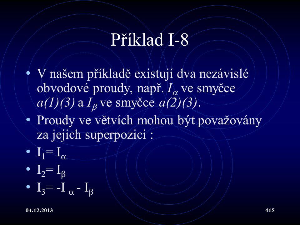 04.12.2013415 Příklad I-8 V našem příkladě existují dva nezávislé obvodové proudy, např. I  ve smyčce a(1)(3) a I  ve smyčce a(2)(3). Proudy ve větv