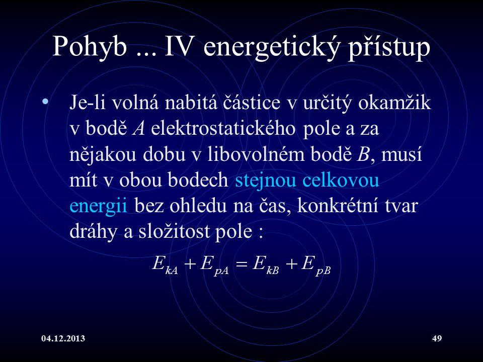 04.12.201349 Pohyb... IV energetický přístup Je-li volná nabitá částice v určitý okamžik v bodě A elektrostatického pole a za nějakou dobu v libovolné