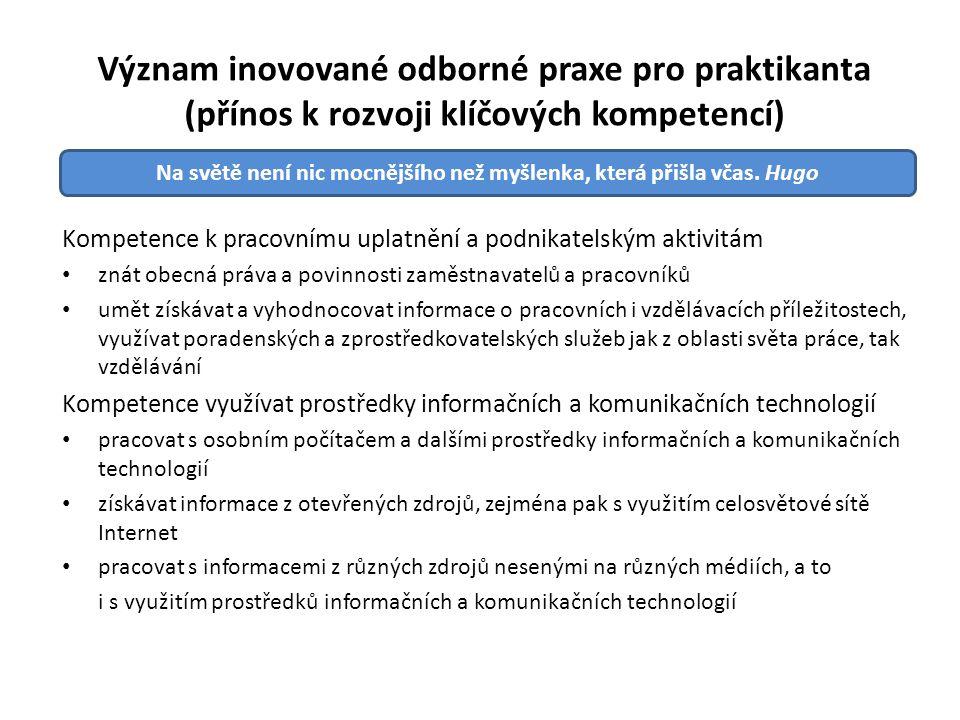 Význam inovované odborné praxe pro praktikanta (přínos k rozvoji klíčových kompetencí) Kompetence k pracovnímu uplatnění a podnikatelským aktivitám zn