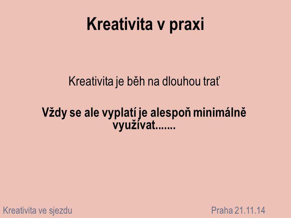 Kreativita v praxi Kreativita je běh na dlouhou trať Vždy se ale vyplatí je alespoň minimálně využívat....... Kreativita ve sjezduPraha 21.11.14