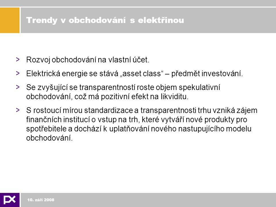 Trendy v obchodování s elektřinou > Rozvoj obchodování na vlastní účet.