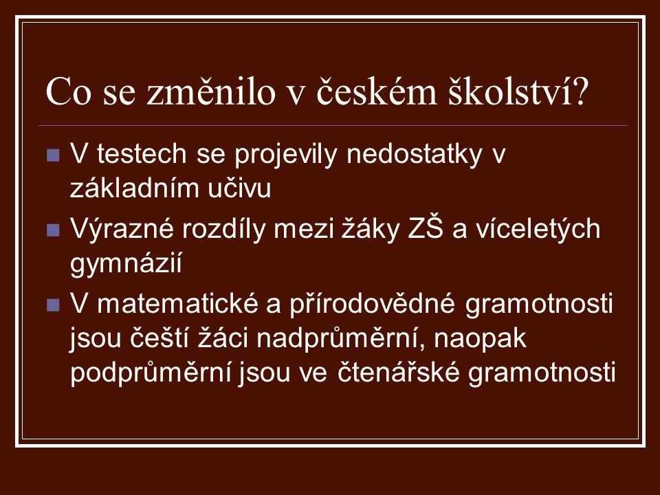 Co se změnilo v českém školství.