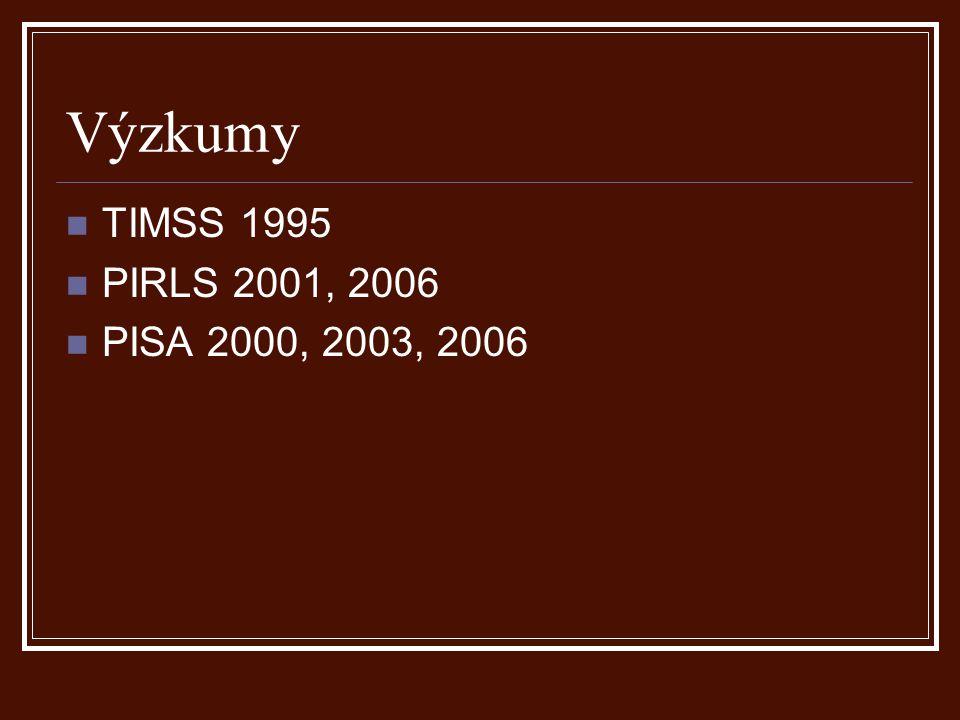 Výzkumy TIMSS 1995 PIRLS 2001, 2006 PISA 2000, 2003, 2006