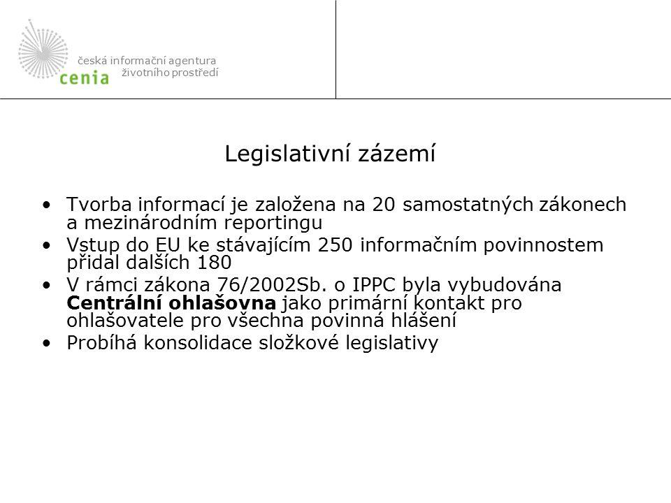Tvorba informací je založena na 20 samostatných zákonech a mezinárodním reportingu Vstup do EU ke stávajícím 250 informačním povinnostem přidal dalších 180 V rámci zákona 76/2002Sb.