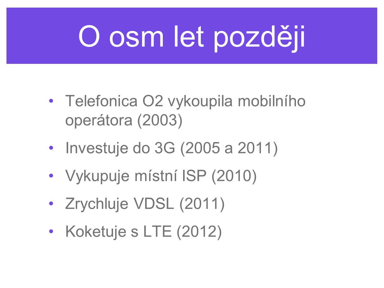 O osm let později Telefonica O2 vykoupila mobilního operátora (2003) Investuje do 3G (2005 a 2011) Vykupuje místní ISP (2010) Zrychluje VDSL (2011) Ko