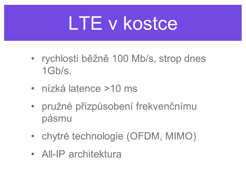 LTE v kostce rychlosti běžně 100 Mb/s, strop dnes 1Gb/s. nízká latence >10 ms pružné přizpůsobení frekvenčnímu pásmu chytré technologie (OFDM, MIMO) A