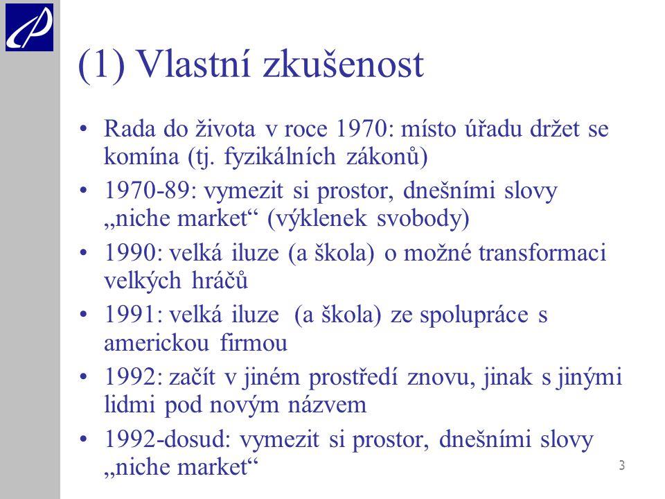 3 (1) Vlastní zkušenost Rada do života v roce 1970: místo úřadu držet se komína (tj.
