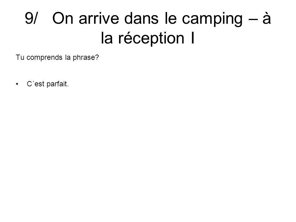 9/ On arrive dans le camping – à la réception I Tu comprends la phrase C´est parfait.