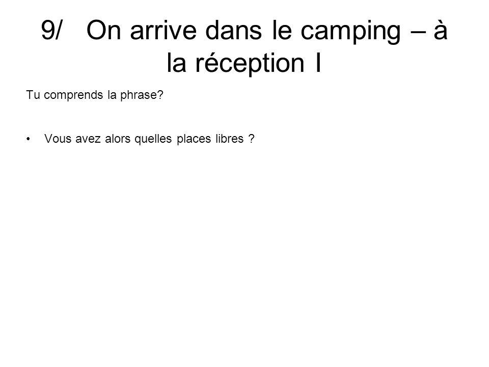 9/ On arrive dans le camping – à la réception I Tu comprends la phrase? Bonjour, messieurs, dames.