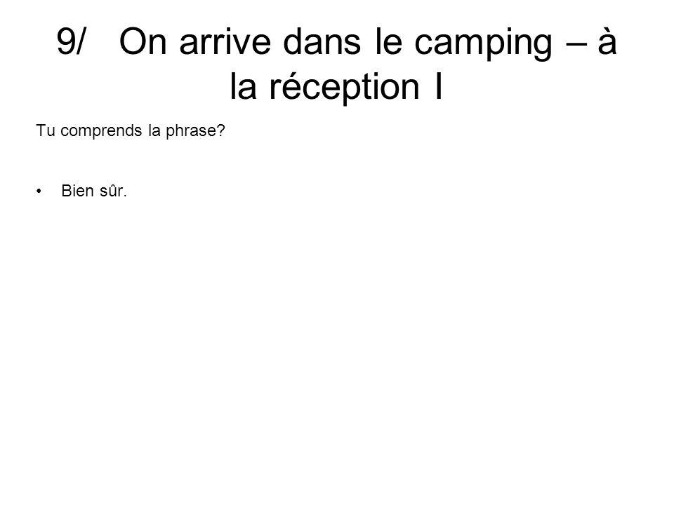 9/ On arrive dans le camping – à la réception I Tu comprends la phrase Bien sûr.
