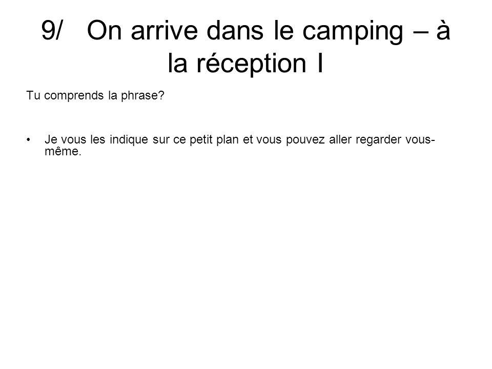 9/ On arrive dans le camping – à la réception I Tu comprends la phrase? A tout à l´heure, madame.