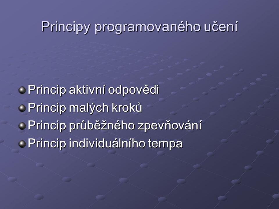 Principy programovaného učení Princip aktivní odpovědi Princip malých kroků Princip průběžného zpevňování Princip individuálního tempa
