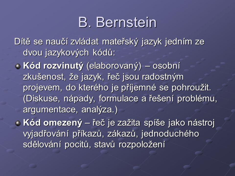 B. Bernstein Dítě se naučí zvládat mateřský jazyk jedním ze dvou jazykových kódů: Kód rozvinutý (elaborovaný) – osobní zkušenost, že jazyk, řeč jsou r