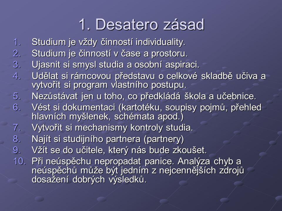 1. Desatero zásad 1.Studium je vždy činností individuality. 2.Studium je činností v čase a prostoru. 3.Ujasnit si smysl studia a osobní aspiraci. 4.Ud