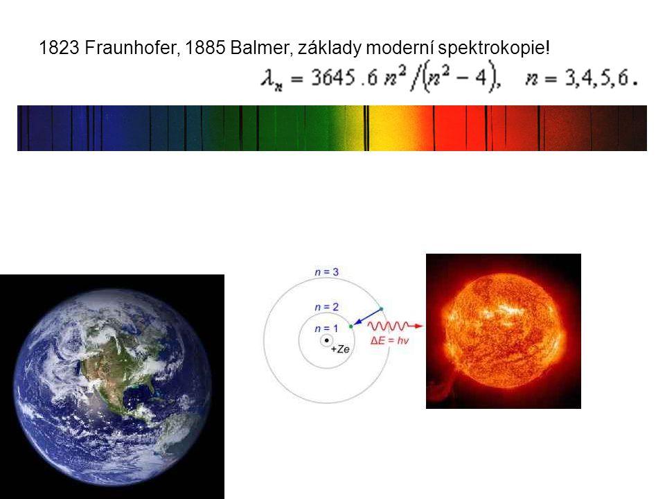 1823 Fraunhofer, 1885 Balmer, základy moderní spektrokopie!