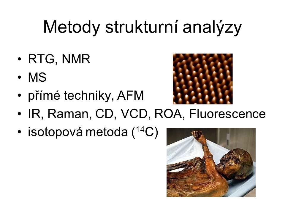 Metody strukturní analýzy RTG, NMR MS přímé techniky, AFM IR, Raman, CD, VCD, ROA, Fluorescence isotopová metoda ( 14 C)
