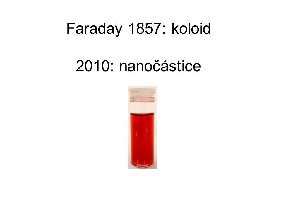 Faraday 1857: koloid 2010: nanočástice