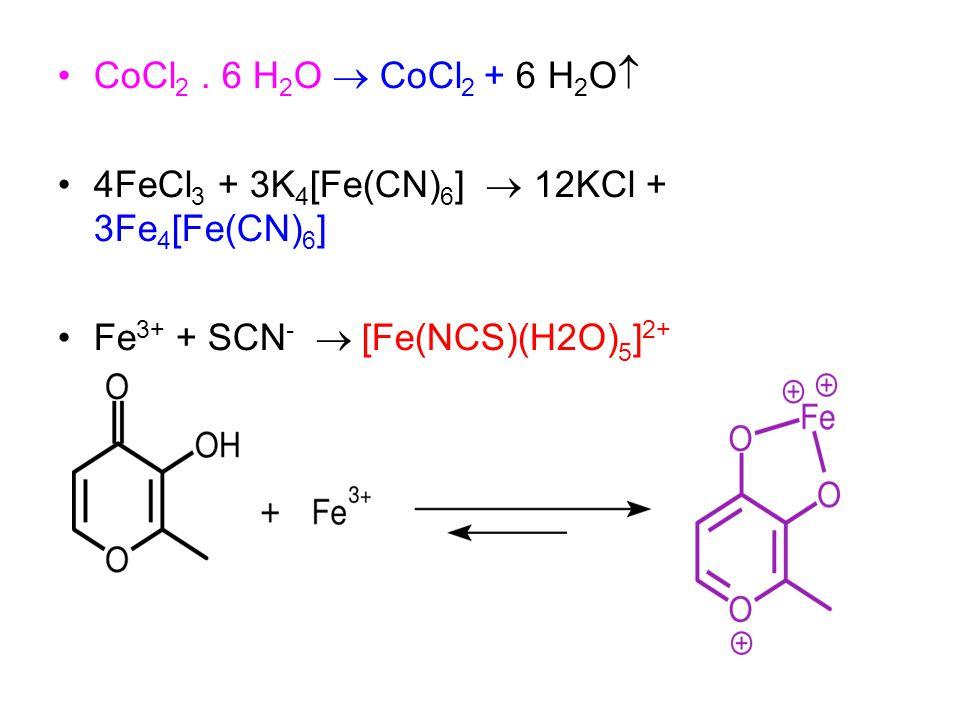 CoCl 2. 6 H 2 O  CoCl 2 + 6 H 2 O  4FeCl 3 + 3K 4 [Fe(CN) 6 ]  12KCl + 3Fe 4 [Fe(CN) 6 ] Fe 3+ + SCN -  [Fe(NCS)(H2O) 5 ] 2+