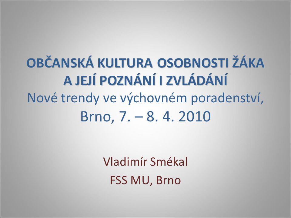 OBČANSKÁ KULTURA OSOBNOSTI ŽÁKA A JEJÍ POZNÁNÍ I ZVLÁDÁNÍ OBČANSKÁ KULTURA OSOBNOSTI ŽÁKA A JEJÍ POZNÁNÍ I ZVLÁDÁNÍ Nové trendy ve výchovném poradenství, Brno, 7.