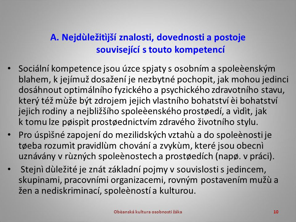 Obèanská kultura osobnosti žáka10 A.