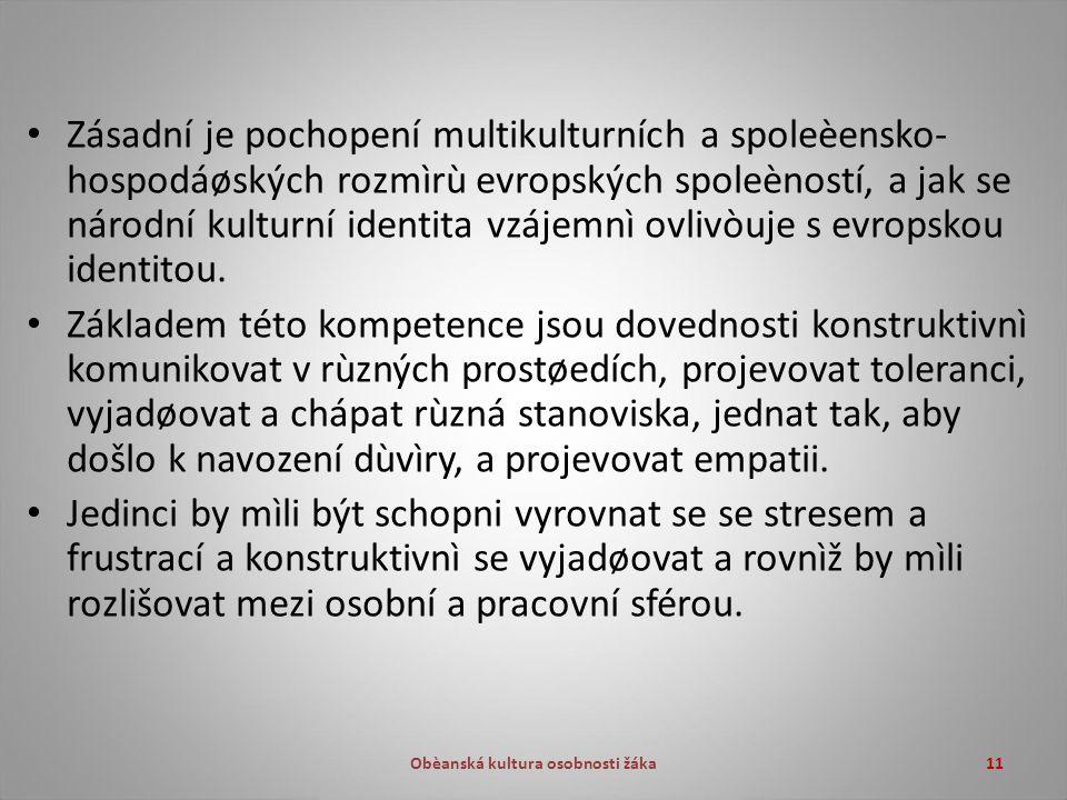 Obèanská kultura osobnosti žáka11 Zásadní je pochopení multikulturních a spoleèensko- hospodáøských rozmìrù evropských spoleèností, a jak se národní kulturní identita vzájemnì ovlivòuje s evropskou identitou.