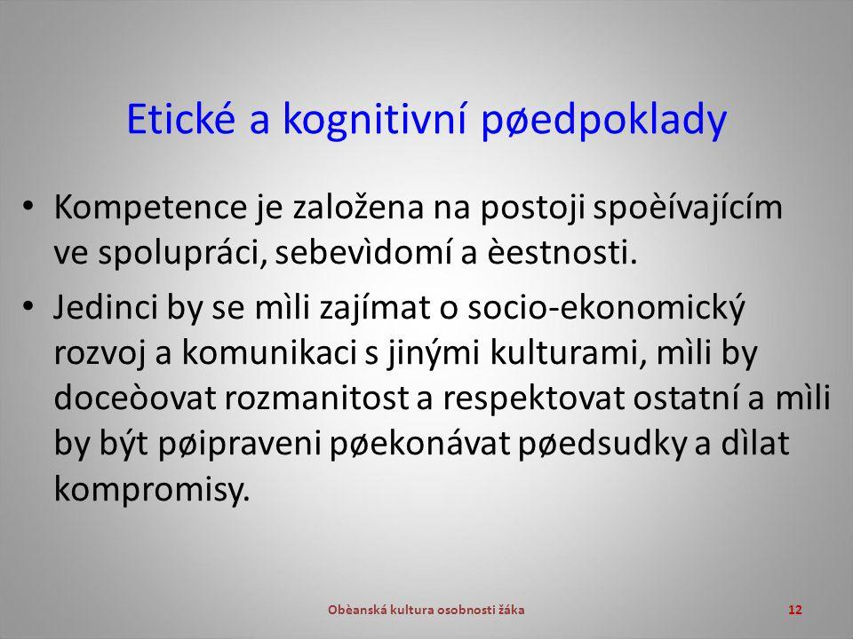 Obèanská kultura osobnosti žáka12 Etické a kognitivní pøedpoklady Kompetence je založena na postoji spoèívajícím ve spolupráci, sebevìdomí a èestnosti.