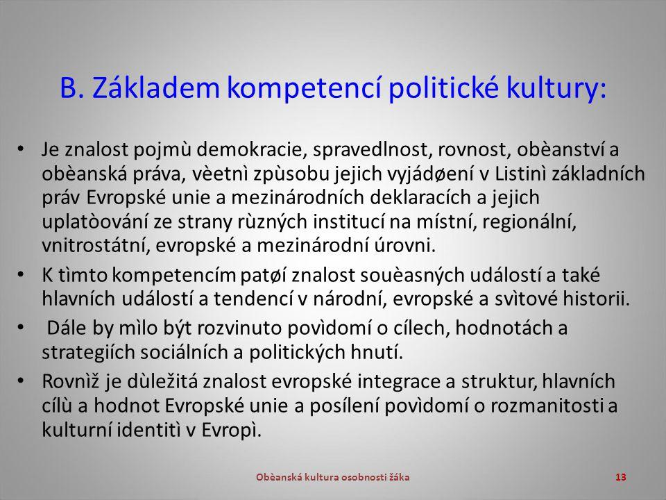Obèanská kultura osobnosti žáka13 B.