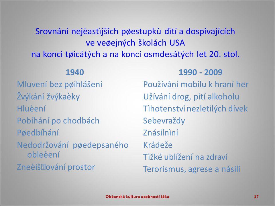 17 Srovnání nejèastìjších pøestupkù dìtí a dospívajících ve veøejných školách USA na konci tøicátých a na konci osmdesátých let 20.