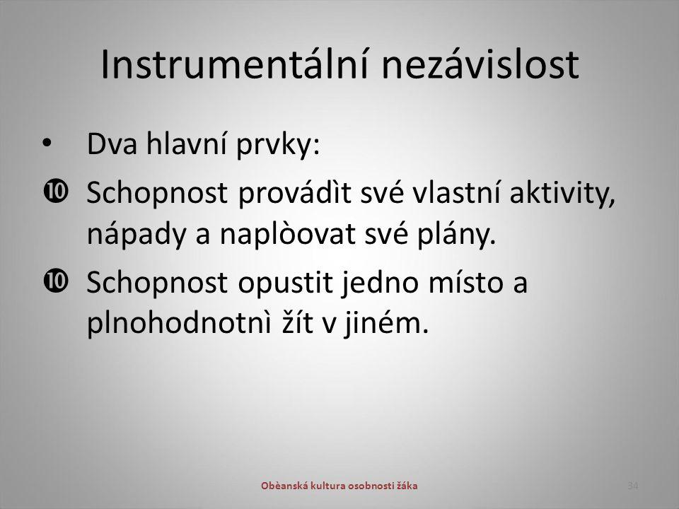 Instrumentální nezávislost Dva hlavní prvky:  Schopnost provádìt své vlastní aktivity, nápady a naplòovat své plány.