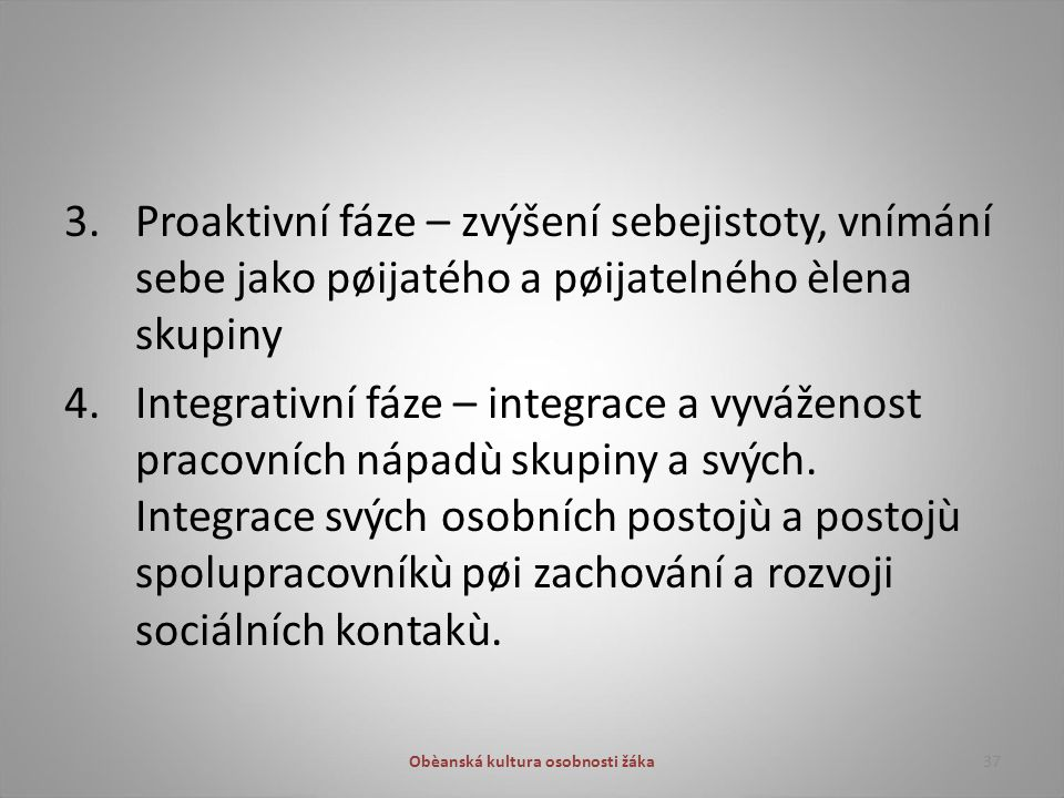 3. Proaktivní fáze – zvýšení sebejistoty, vnímání sebe jako pøijatého a pøijatelného èlena skupiny 4. Integrativní fáze – integrace a vyváženost praco