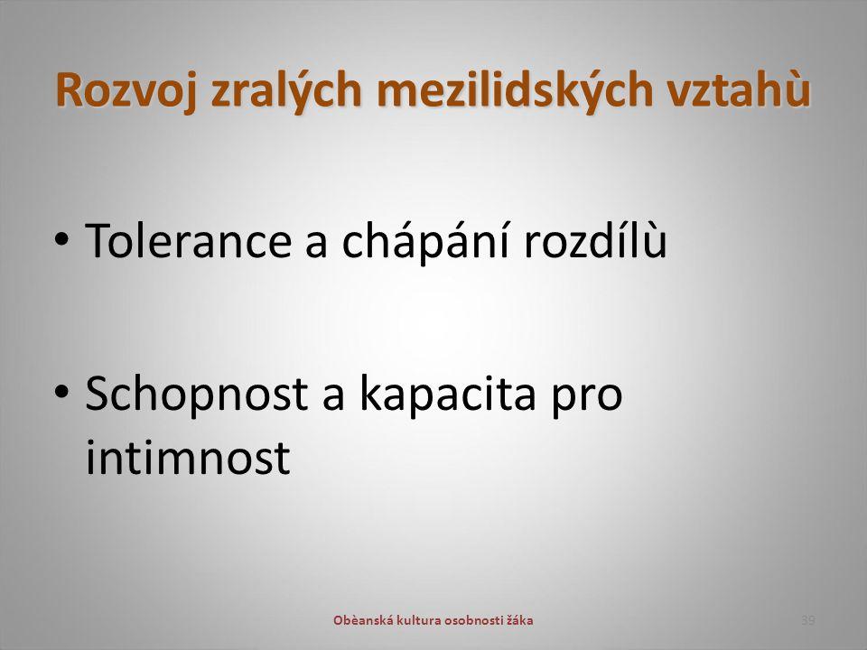 Rozvoj zralých mezilidských vztahù Tolerance a chápání rozdílù Schopnost a kapacita pro intimnost 39Obèanská kultura osobnosti žáka