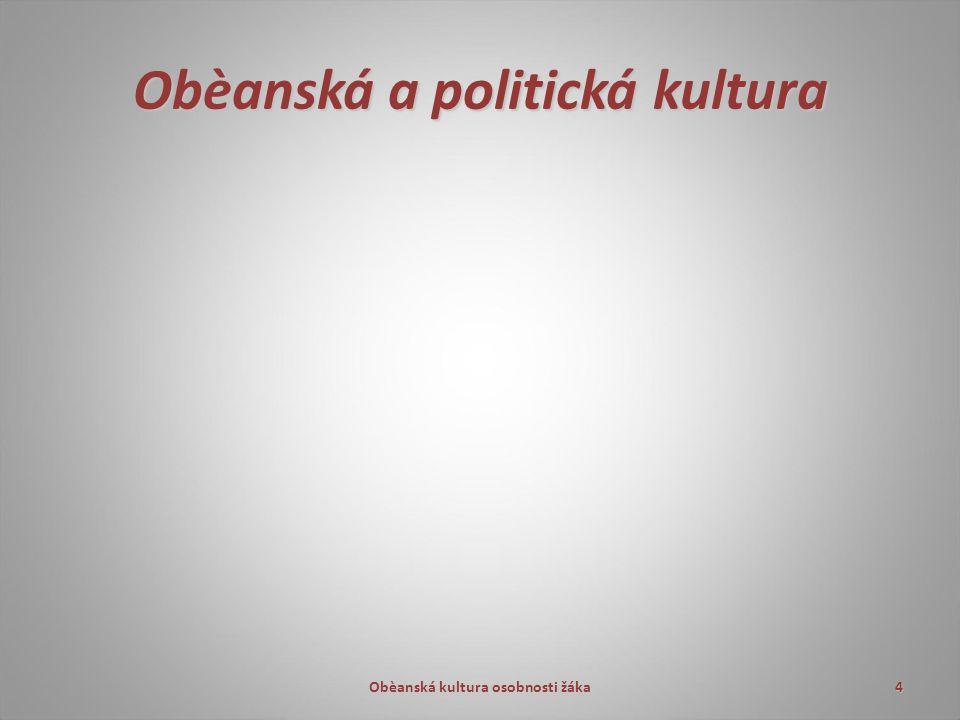 Obèanská a politická kultura Obèanská kultura osobnosti žáka4