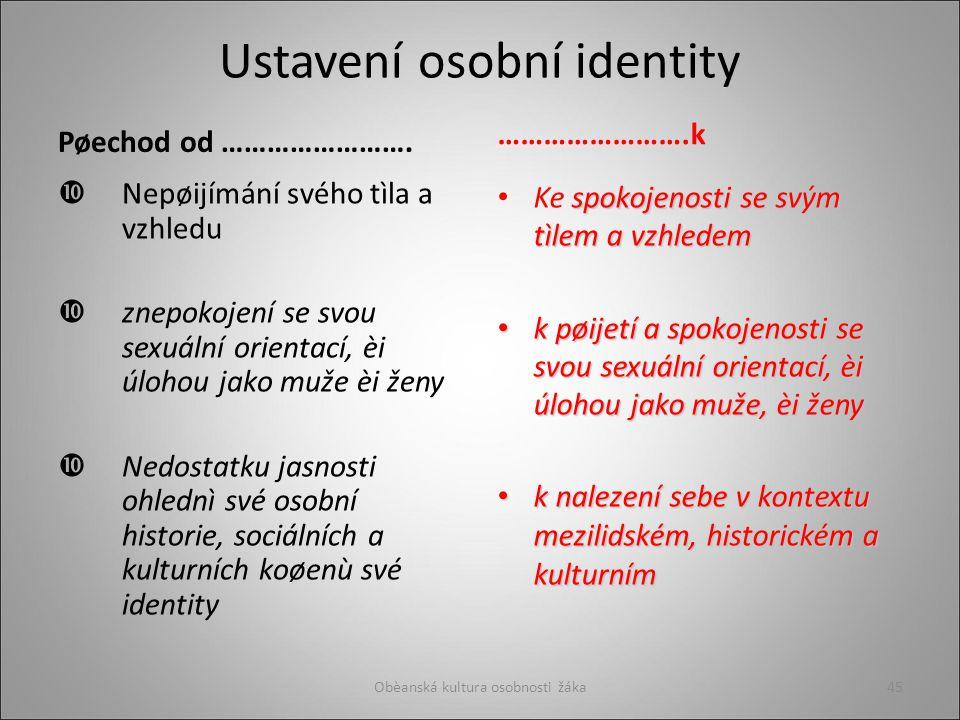 Ustavení osobní identity Pøechod od …………………….
