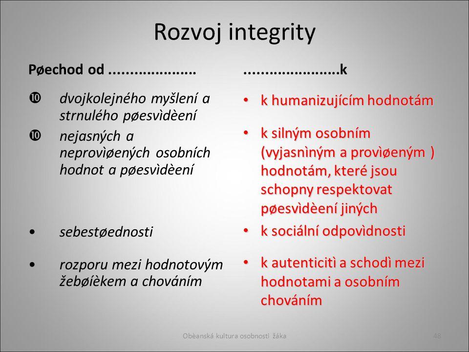 Rozvoj integrity Pøechod od.....................