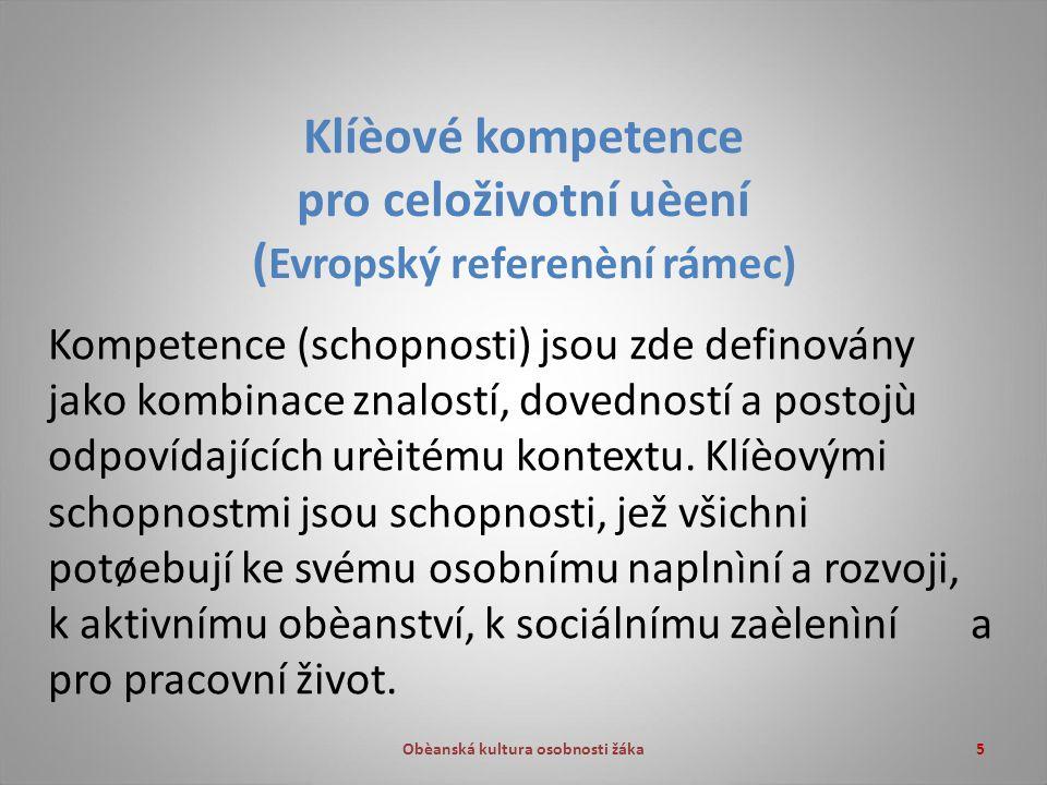 5 Klíèové kompetence pro celoživotní uèení ( Evropský referenèní rámec) Kompetence (schopnosti) jsou zde definovány jako kombinace znalostí, dovedností a postojù odpovídajících urèitému kontextu.