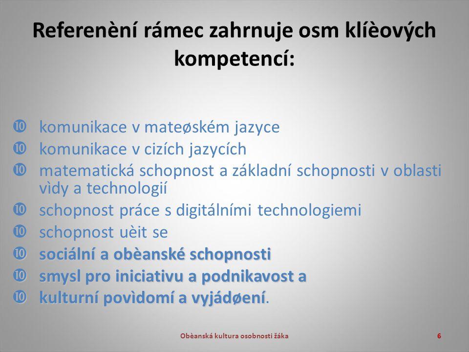 Obèanská kultura osobnosti žáka6 Referenèní rámec zahrnuje osm klíèových kompetencí:  komunikace v mateøském jazyce  komunikace v cizích jazycích  matematická schopnost a základní schopnosti v oblasti vìdy a technologií  schopnost práce s digitálními technologiemi  schopnost uèit se  sociální a obèanské schopnosti  smysl pro iniciativu a podnikavost a  kulturní povìdomí a vyjádøení  kulturní povìdomí a vyjádøení.