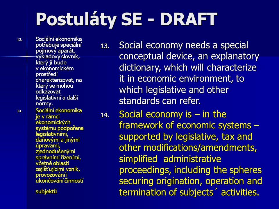13. Sociální ekonomika potřebuje speciální pojmový aparát, výkladový slovník, který jí bude v ekonomickém prostředí charakterizovat, na který se mohou